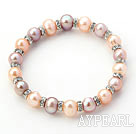 Classic Design Round Pink and Purple Freshwater Pearl and Rhinestone Ring Stretch Bangle Bracelet