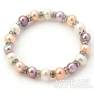 Classic Design Round White Pink Purple Freshwater Pearl and Rhinestone Ring Stretch Bangle Bracelet