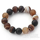 14mm Natural Frosted Round Agate Stretch Bangle Bracelet