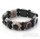 Wholesale Black Series Rectangle Shape Evil Ege Agate Stretch Bangle Bracelet