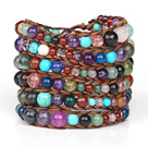 Blandade Multi Color Multi sten Woven Wrap Bangle Armband med Brown Wax tråd