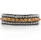 Fashion Style Three Rows Light Pink Crystal and Silver Beads Woven Bangle Bracelet