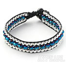 Wholesale Fashion Style Three Rows Dark Blue Crystal and Silver Beads Woven Bangle Bracelet