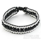 Wholesale Fashion Style Three Rows Black Crystal and Silver Beads Woven Bangle Bracelet
