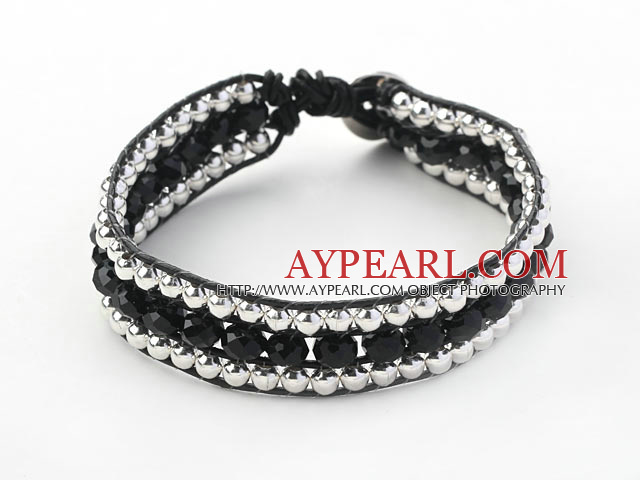 Fashion Style Three Rows Black Crystal and Silver Beads Woven Bangle Bracelet