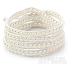 Discount Fashion Style Round White Glass Beads Woven Wrap Bangle Bracelet with White Wax Thread
