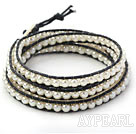 Fashion Style Round White Glass Beads Woven Wrap Bangle Bracelet with Black Wax Thread