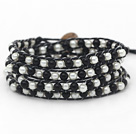 Discount Fashion Style Round Gray and White Glass Beads Woven Wrap Bangle Bracelet with Black Wax Thread