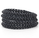 Mote Stil Round Sort Glassperler Woven Wrap Bangle Bracelet with Black Wax tråden
