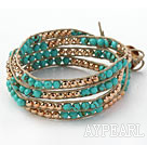 Fashion Style Round Turquoise and Golden Color Metal Beads Woven Wrap Bangle Bracelet with Gray Wax Thread