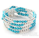 Blue Series Round Blå Turkis og Silver Color Metall Perler Woven Wrap Bangle Bracelet med hvite Wax tråden