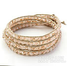 Fashion Style Light Pink Jade Crystal Woven Wrap Bangle Bracelet with Gray Wax Thread