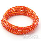 Wholesale Fashion Style Dark Orange Color Jade Crystal Woven Wrap Bangle Bracelet with Orange Wax Thread