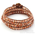 Fashion Style Light Coffee Color Jade Crystal Woven Wrap Bangle Bracelet with Brown Wax Thread
