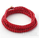 Discount Fashion Style Dark Red Color Jade Crystal Woven Wrap Bangle Bracelet with Red Wax Thread