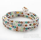 Fashion Style Multi Color Jade Crystal Woven Wrap Bangle Bracelet with White Wax Thread