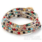 Discount Fashion Style Multi Color Jade Crystal Woven Wrap Bangle Bracelet with Gray Wax Thread