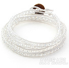 Discount Fashion Style Clear Crystal Woven Wrap Bangle Bracelet with White Wax Thread