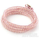 Wholesale Fashion Style Pink Crystal Woven Wrap Bangle Bracelet with Pink Wax Thread