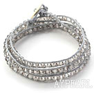 Fashion Style Gray Crystal Woven Wrap Bangle Bracelet with Gray Wax Thread