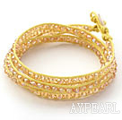 Mote Stil Gul Crystal Woven Wrap Bangle Bracelet med Yellow Wax tråden