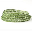 Discount Fashion Style Light Green Crystal Woven Wrap Bangle Bracelet with Green Wax Thread