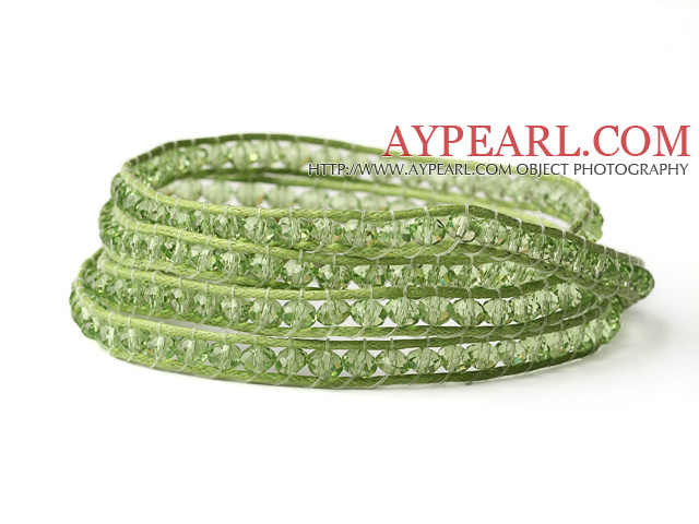 Fashion Style Light Green Crystal Woven Wrap Bangle Bracelet with Green Wax Thread
