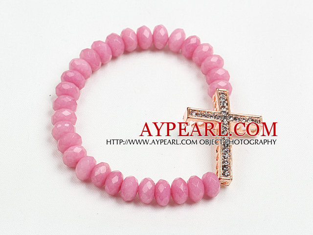 Summer Beach Jewelry Pink Jade Beaded Elastic/ Stretch Bracelet With Cross Charm
