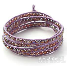 Fashion Style Purple Pink Crystal Woven Wrap Bangle Bracelet with Purple Wax Thread