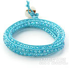 Wholesale Fashion Style Sky Blue Crystal Woven Wrap Bangle Bracelet with Sky Blue Wax Thread
