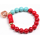 Simple Style Red Blood Stone Turquoise Beads Cylinder Coral Stretch / Elastic Bracelet With Golden Rose Color Hollow Heart Charm