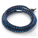 Discount Fashion Style Dark Blue Crystal Woven Wrap Bangle Bracelet with Dark Blue Wax Thread
