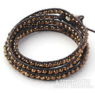 Fashion Style Golden Color Crystal Woven Wrap Bangle Bracelet with Brown Wax Thread