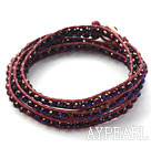 Fashion Style Purple Red Crystal Woven Wrap Bangle Bracelet with Purple Red Wax Thread