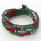 Discount Fashion Style Red and Green and Gray Silver Color Crystal Woven Wrap Bangle Bracelet with Green Wax Thread