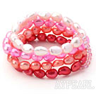 Pink Series Gradual Color Change Freshwater Pearl Stretch Bangle Bracelet