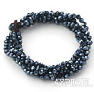 Black Gray Series Multi Strands Black Faceted Crystal Bracelet