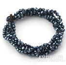 Black Gray Series Multi Strands Black Faceted Crystal Bracelet