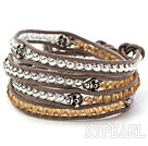 Orange Color Crystal and Silver Color Beads and Skull Woven Wrap Bangle Bracelet with Gray Leather Cord