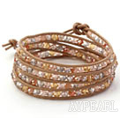 Brown Series Multi Color Crystal Woven Wrap Bangle Armband med Brown Leather Cord