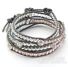Assorted Pink Crystal and Silver Color Beads and Buddha's Head Woven Wrap Bangle Bracelet with Gray Leather Cord