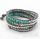 Wholesale Round Turquoise and Silver Color Beads and Skull Woven Wrap Bangle Bracelet with Gray Leather Cord