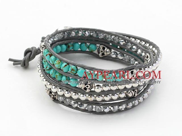 Round Turquoise and Silver Color Beads and Skull Woven Wrap Bangle Bracelet with Gray Leather Cord