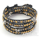 Golden Plated Color Crystal and Silver Color Skull Woven Wrap Bangle Bracelet with Black Leather Cord