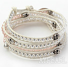 Pink Crystal and Silver Color Beads and Skull Woven Wrap Bangle Bracelet with White Leather Cord