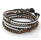 Wholesale Golden Color Crystal and Silver Beads and Skull Woven Wrap Bangle Bracelet with Black Leather Cord