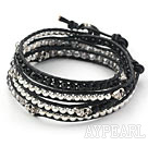 Gray Crystal and Silver Color Beads and Skull Woven Wrap Bangle Bracelet with Black Leather Cord