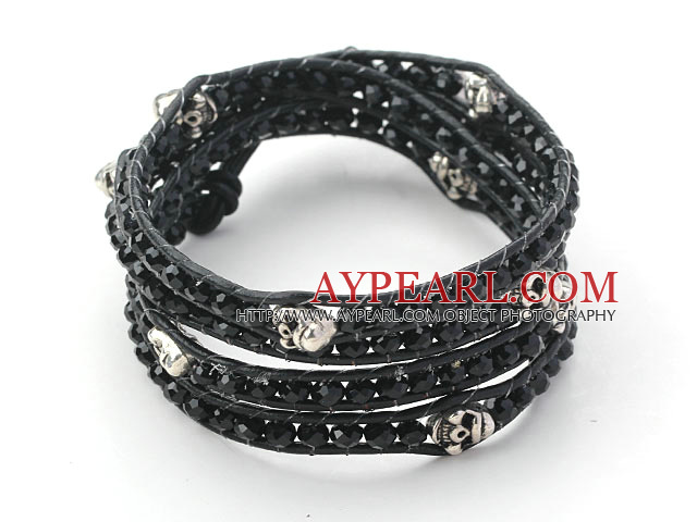 Black Crystal and Silver Color Beads and Skull Woven Wrap Bangle Bracelet with Black Leather Cord