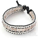Round Gray Agate and Silver Beads Woven Bracelet with Black Leather Cord