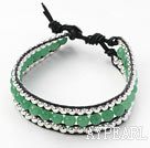 Wholesale Green Series Round Aventurine Agate and Silver Beads Woven Bracelet with Black Leather Cord